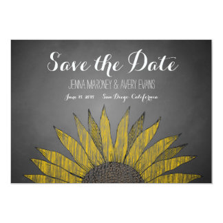 "Yellow Sunflower Chalk Save the Date 5"" X 7"" Invitation Card"