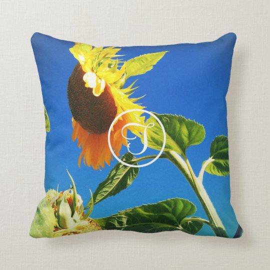 Yellow sunflower close-up photo custom monogram throw pillow