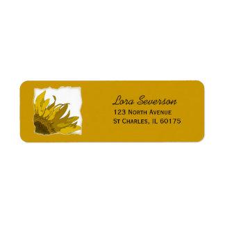 Yellow Sunflower Corner Return Address Label