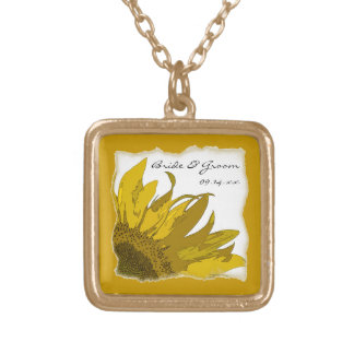 Yellow Sunflower Corner Wedding Gold Plated Necklace