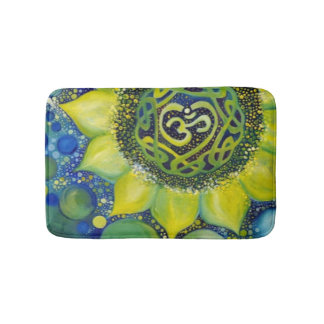 Yellow Sunflower Crown Chakra Design Bath Mat
