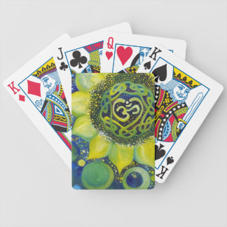 Yellow Sunflower Crown Chakra Design Bicycle Playing Cards