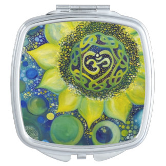 Yellow Sunflower Crown Chakra Design Compact Mirrors