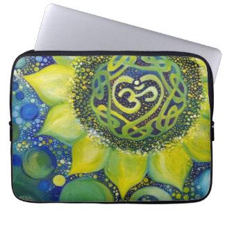 Yellow Sunflower Crown Chakra Design Laptop Sleeve