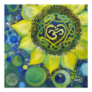 Yellow Sunflower Crown Chakra Design Photo Print