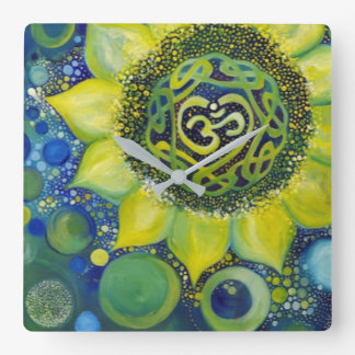 Yellow Sunflower Crown Chakra Design Square Wall Clock