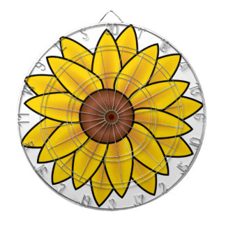 Yellow Sunflower Drawing Dartboard