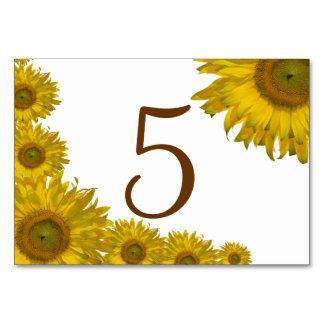 Yellow Sunflower Edge Table Numbers Table Card