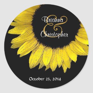 Yellow Sunflower Envelope Seal Round Sticker