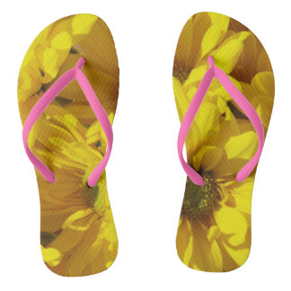 Yellow Sunflower Flip Flops
