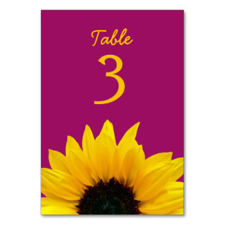 Yellow Sunflower Flower Berry Pink Wedding Table Cards