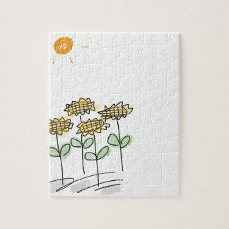 Yellow Sunflower Flower Garden - Hand Drawn Sketch Puzzles