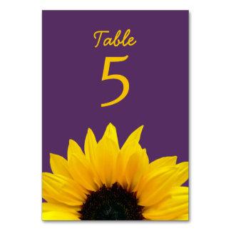 Yellow Sunflower Flower Purple Wedding Table Cards
