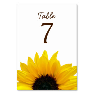 Yellow Sunflower Flower White Brown Wedding Table Card