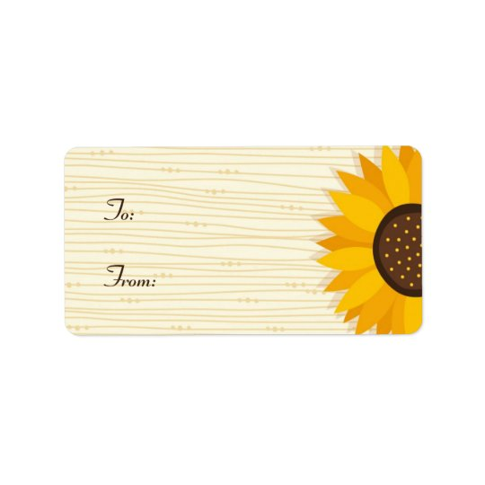 Yellow sunflower gift tag labels