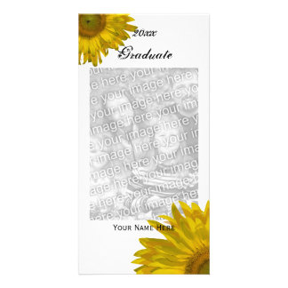 Yellow Sunflower Graduation Announcement Photo Custom Photo Card