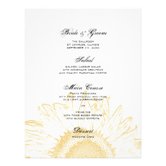 Yellow Sunflower Graphic Wedding Menu Full Color Flyer