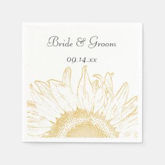 Yellow Sunflower Graphic Wedding Paper Napkin