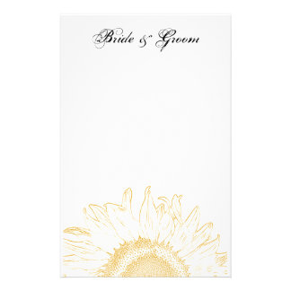 Yellow Sunflower Graphic Wedding Stationery