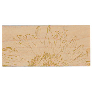 Yellow Sunflower Graphic Wedding Wood USB Flash Drive