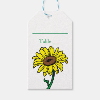 Yellow Sunflower Green Wedding Escort Place Card Gift Tags