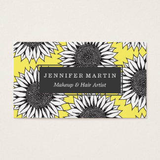 Yellow Sunflower in Black and White Hand Drawing Business Card