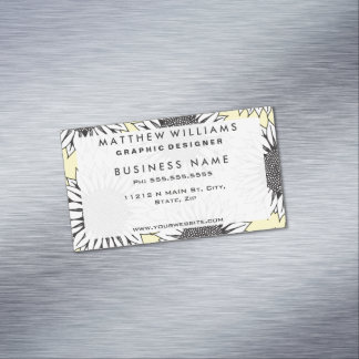 Yellow Sunflower in Black and White Hand Drawing Magnetic Business Card
