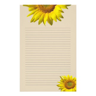 Yellow Sunflower Lined Personal Writing Paper Customized Stationery