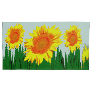 Yellow Sunflower Motifs accent Pillowcase