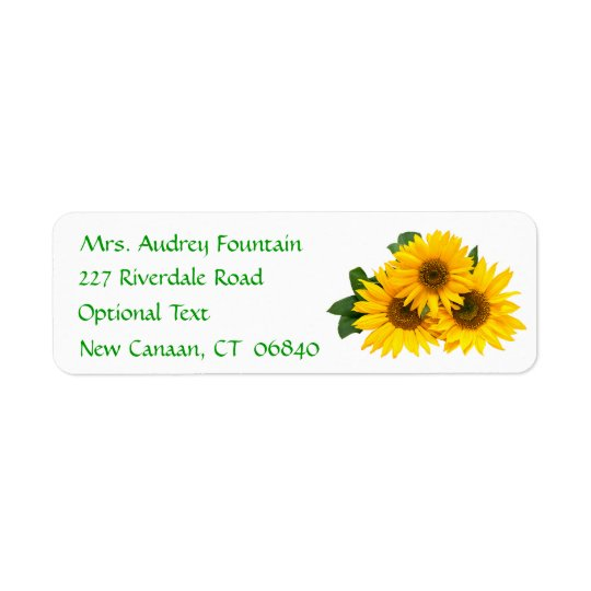Yellow Sunflower Name Address Return Mailing Label Return Address Label