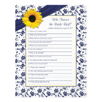 Yellow Sunflower Navy Blue Bridal Shower Game Personalized Letterhead