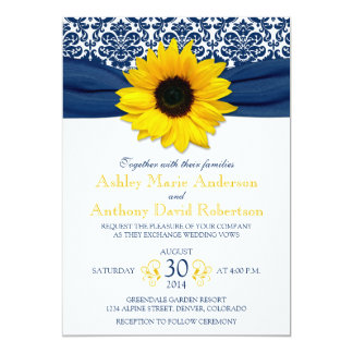 Yellow Sunflower Navy Blue Damask Ribbon Wedding Card