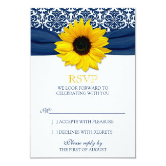 "Yellow Sunflower Navy Damask Ribbon Wedding RSVP 3.5"" X 5"" Invitation Card"
