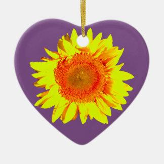 Yellow Sunflower on a Purple Ceramic Ornament