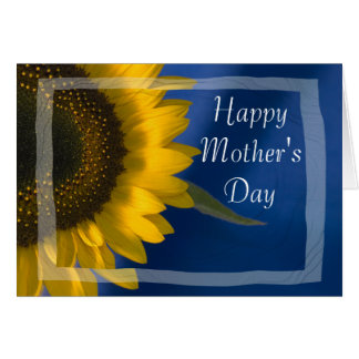 Yellow Sunflower on Blue Happy Mothers Day Card