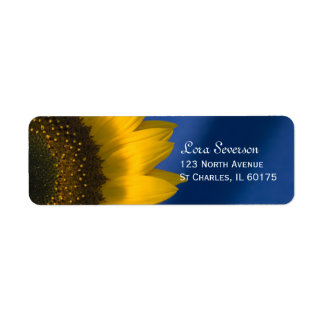 Yellow Sunflower on Blue Return Address