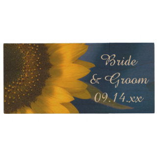 Yellow Sunflower on Blue Wedding Favor Wood USB Flash Drive