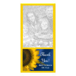 Yellow Sunflower on Blue Wedding Thank You Photo Cards