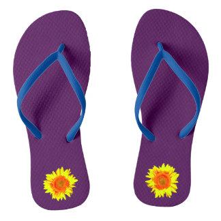 Yellow Sunflower on Dark Purple Flip Flops