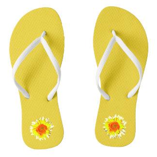 Yellow Sunflower on Flip Flops