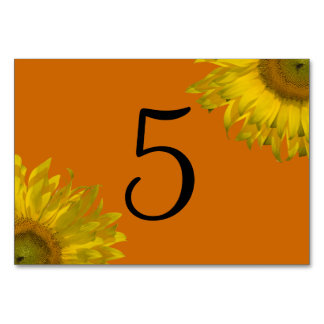 Yellow Sunflower on Orange Table Numbers