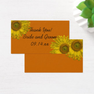 Yellow Sunflower on Orange Wedding Favor Tags Business Card