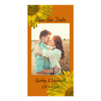 Yellow Sunflower on Orange Wedding Save the Date Photo Cards