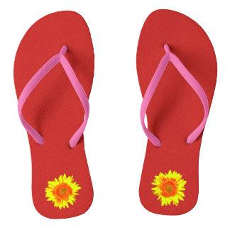 Yellow Sunflower on Red Flip Flops