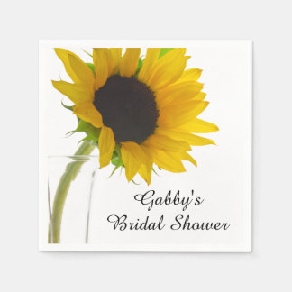 Yellow Sunflower on White Bridal Shower Paper Napkins
