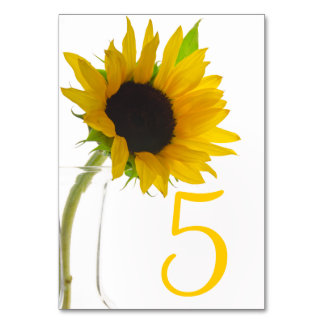 Yellow Sunflower on White Table Numbers Table Card