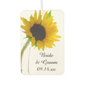 Yellow Sunflower on White Wedding Favor Car Air Freshener