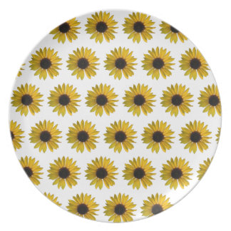 Yellow Sunflower Pattern Dinner Plates