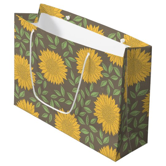 Yellow Sunflower Pattern Large Gift Bag