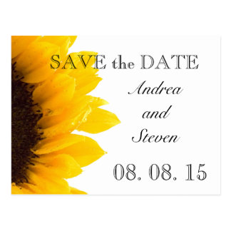 Yellow Sunflower Photo Save the Date Postcard